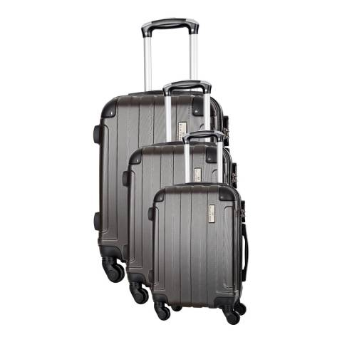 Platinium Grey Delos Set of Three 4 Wheeled Suitcases 46/56/66cm