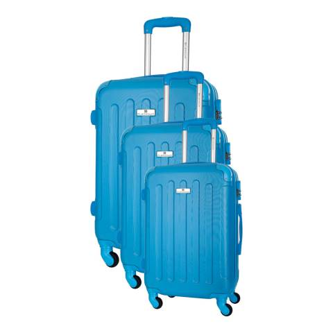 Platinium Blue Allgood Set of Three 4 Wheeled Suitcases 46/56/66cm
