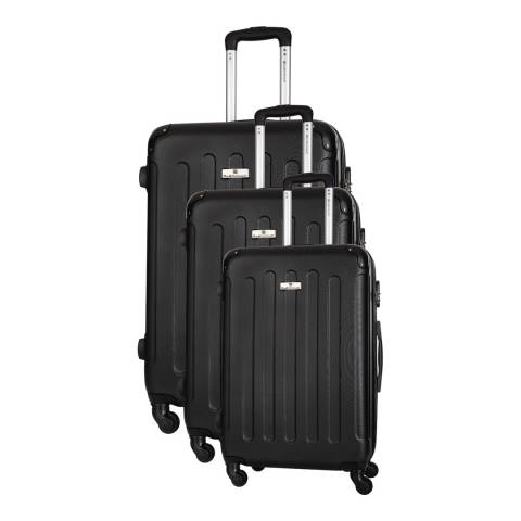 Platinium Black Allgood Set of Three 4 Wheeled Suitcases 46/56/66cm