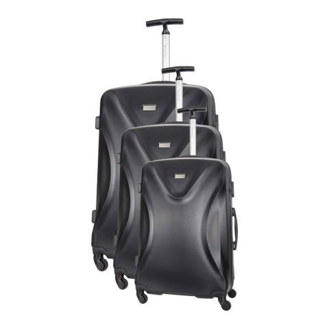 Platinium Black Athenes Set of Three 4 Wheeled Suitcases 50/60/70cm