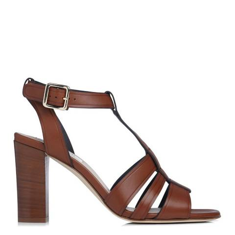 L K Bennett Tan Leather Selena T-Bar Sandals