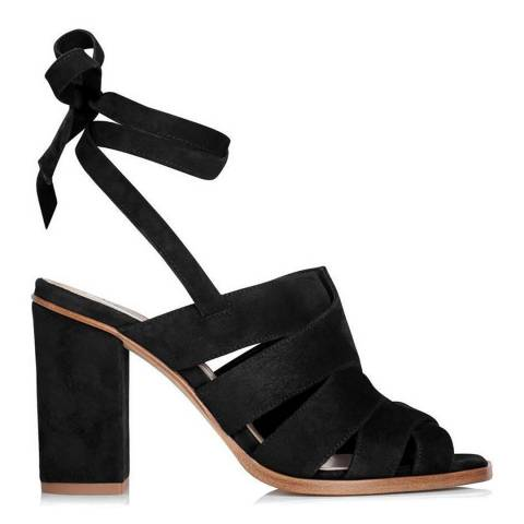 L K Bennett Black Suede Seline Heeled Sandals