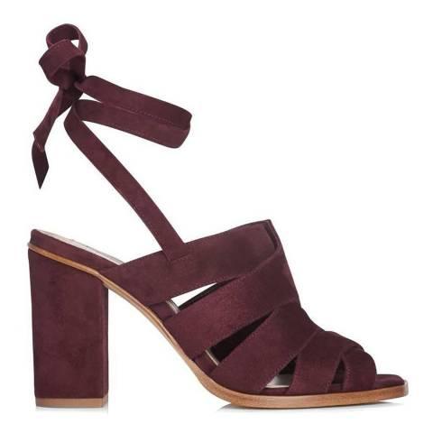 L K Bennett Damson Red Suede Seline Heeled Sandals