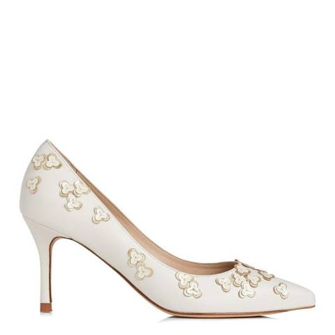 L K Bennett Cream/Gold Leather Lilly Courts