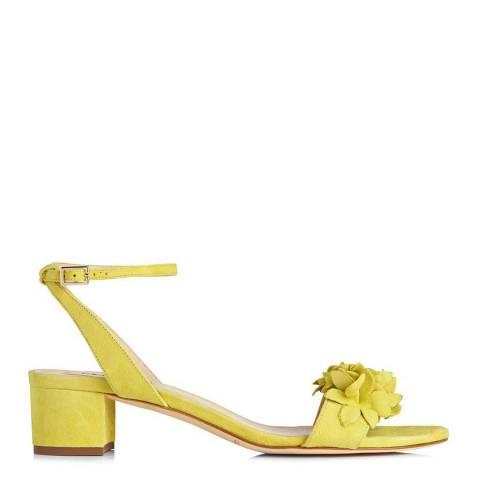 L K Bennett Lime Suede Coralie Floral Sandals
