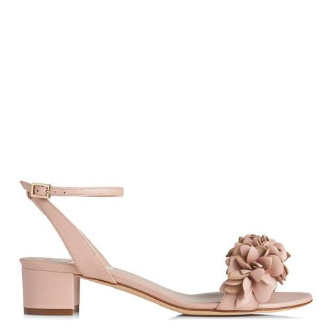 L K Bennett Marshmallow Pink Leather Coralie Floral Sandals