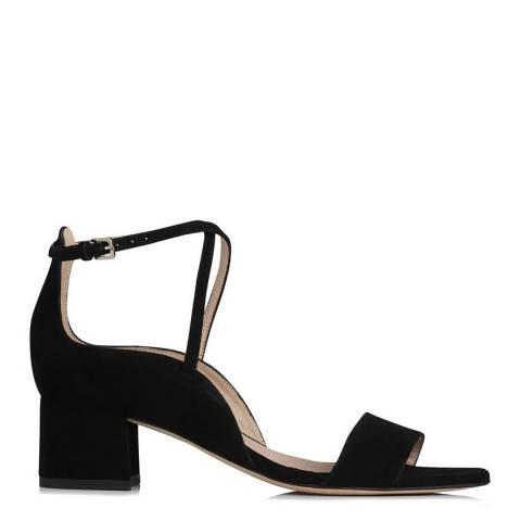 L K Bennett Black Suede Dina Scalloped Sandals