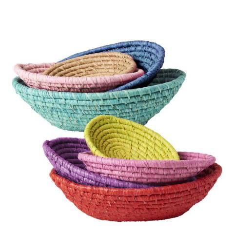 Rice Set of 4 Raffia Oval Bread Baskets