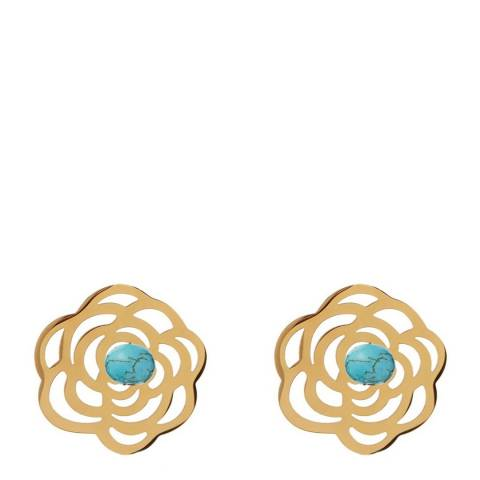 Chloe Collection by Liv Oliver Turquoise/Gold Flower Stud Earrings