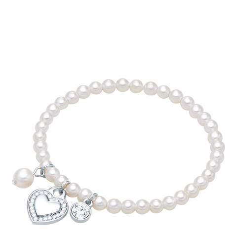 Pearls of London White/Silver Shell Pearl Bracelet