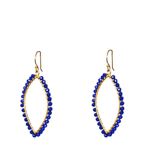 Liv Oliver Gold Plated/Sapphire Blue Marquise Shape Earrings