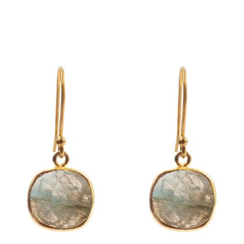 Liv Oliver Gold Plated/Grey Labradorite Cushion Drop Earrings