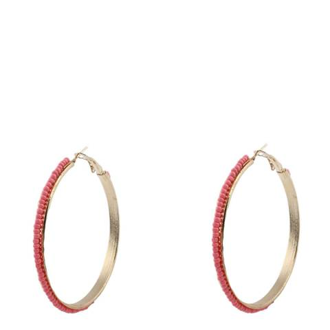 Liv Oliver Gold Plated Pink Coral Beaded Hoop Earrings