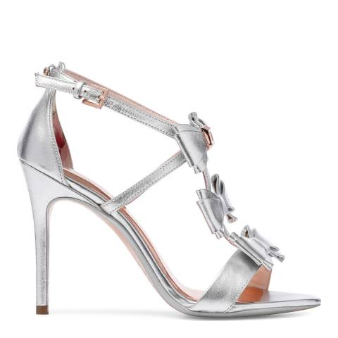 Ted Baker Silver Leather Appolini Bow Stiletto Sandals