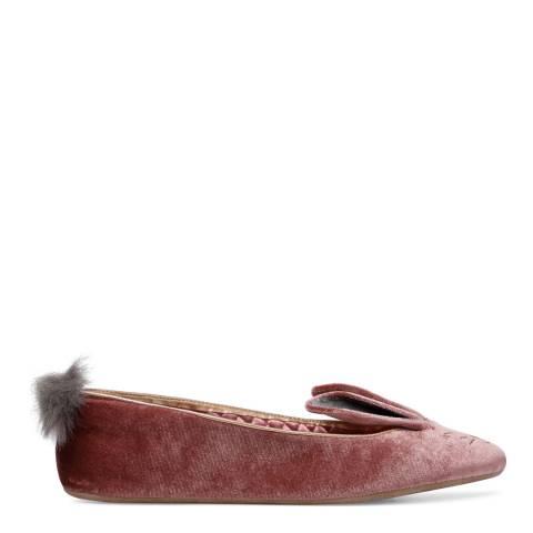 Ted Baker Pink Plush Velvet Bellamo Bunny Slippers