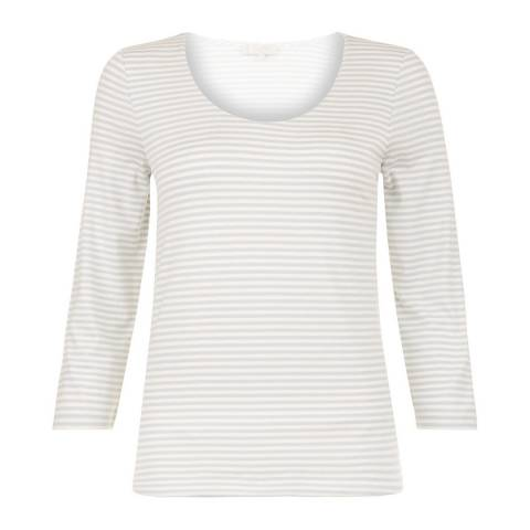 Hobbs London White Striped Daisy Top