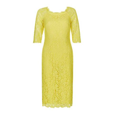 Hobbs London Yellow Lace Miller Dress