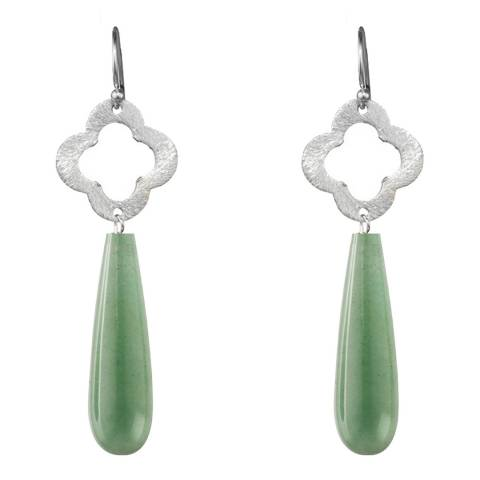 Alexa by Liv Oliver Sterling Silver Aventurine Clover Earrings