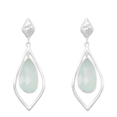 Alexa by Liv Oliver Sterling Silver Pear Shape Chalcedony Hammered Earrings