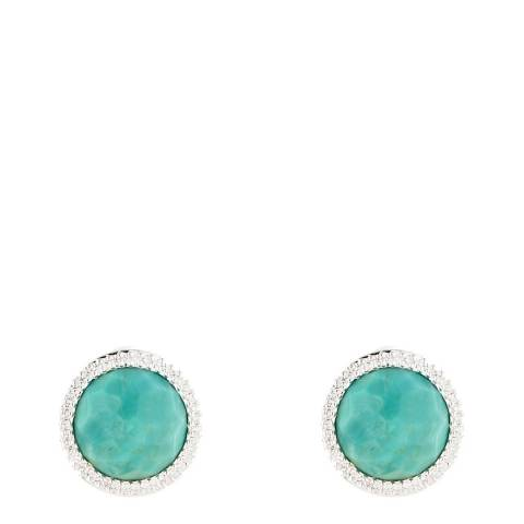 Alexa by Liv Oliver Sterling Silver Turquoise CZ Halo Post Earrings