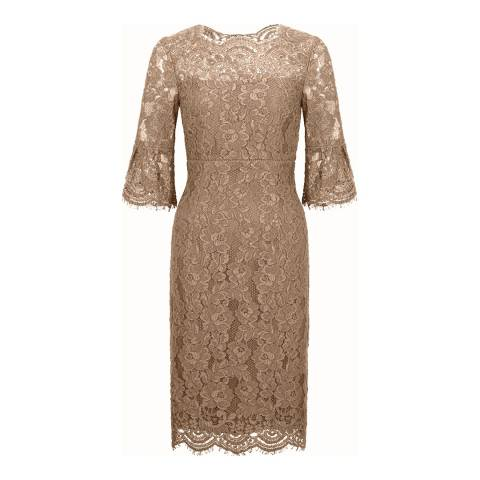 Hobbs London Biege Vanessa Lace Dress
