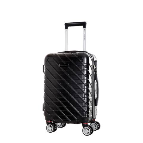 Travel One Black Leiria Low Cost 8 Wheeled Suitcase 46cm