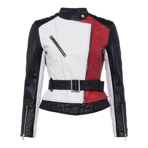 French Connection Red/Black/White Evia Leather Belted Waist Jacket