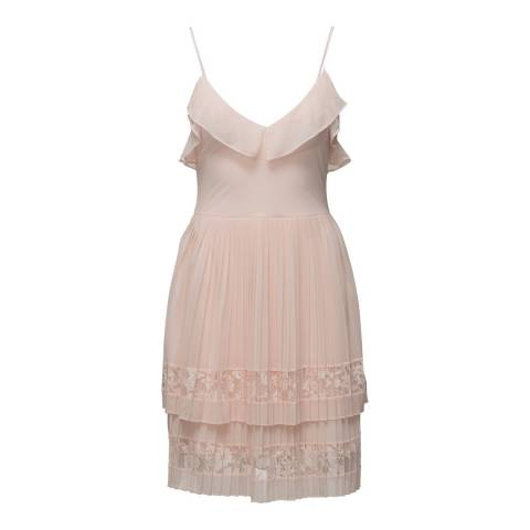 French Connection Pink/White Strappy Lace Dress