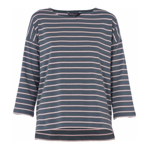 French Connection Grey/Blush Stripe Tim Tim Top