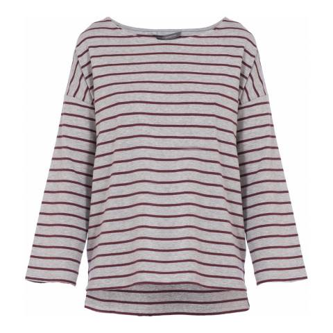 French Connection Grey/Red Stripe Tim Tim Top
