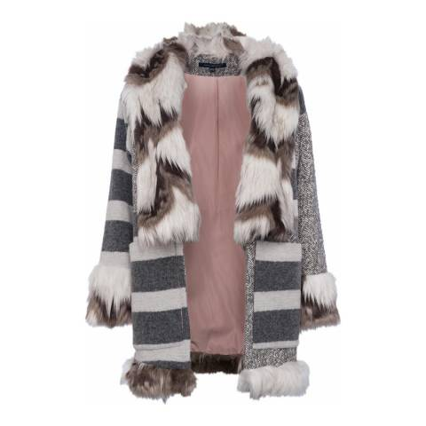 French Connection Grey/White Noemi Coating Faux Fur Trim Coat