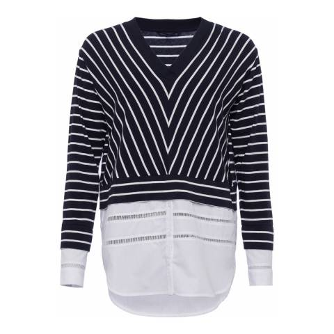 French Connection Blue/ Cream Stripe Jumper