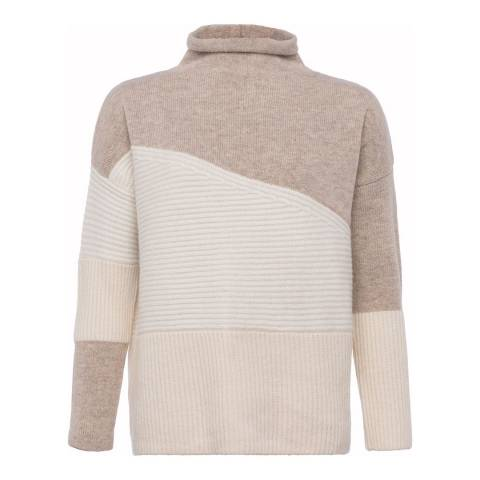 French Connection Cream Multi Patchwork Tonal High Neck Wool Blend Jumper