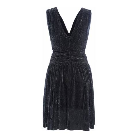 French Connection Black Marcelle Shimmer Jersey V-Neck Dress