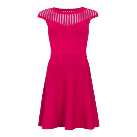 French Connection Magenta Haze Crepe Mesh Fit And Flare Dress