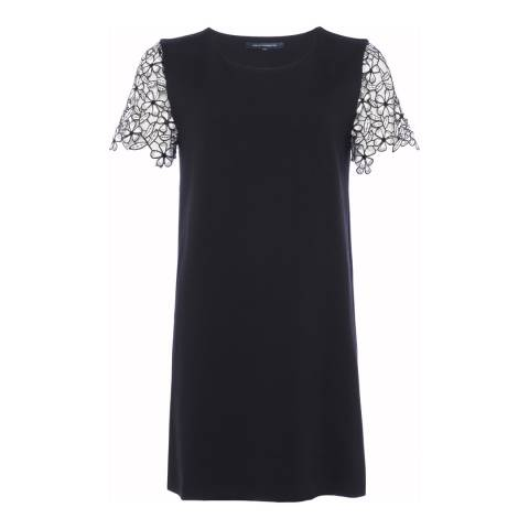 French Connection Black Flaga Frill Lace Sleeve Dress