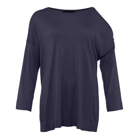 French Connection Navy Relaxed Fit Round Neck Jumper