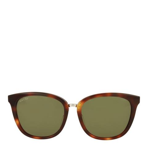 Gucci Womens Gucci Havana/Green Sunglasses 56mm