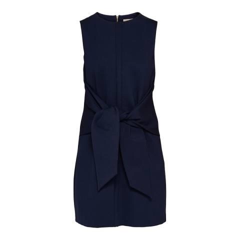 Ted Baker Navy Papron Sleeveless Waist Tie Dress
