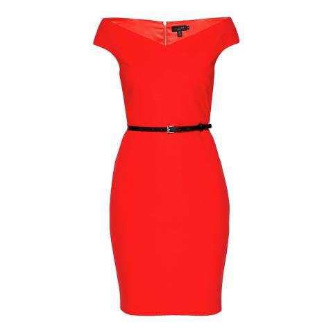 Ted Baker Red Off The Shoulder Bodycon Dress