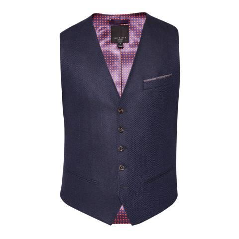 Ted Baker Navy Glenwai Semi Plain Wool Waistcoat