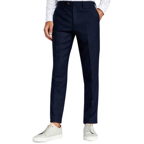 Ted Baker Navy Glentro Semi Plain Wool Trousers
