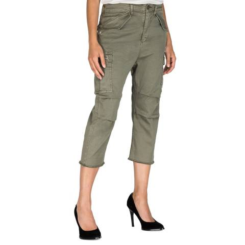 Replay Sage Green Twill Cropped Cargo Trousers