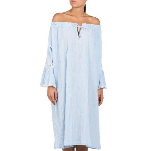 Replay Light Blue Off Shoulder Cotton Dress