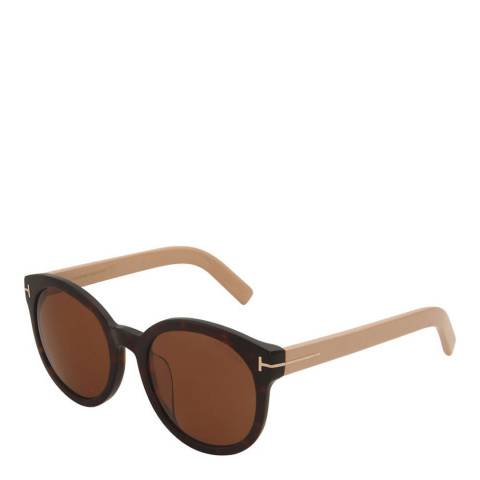 Tom Ford Women's Beige Rounded Sunglasses 56mm