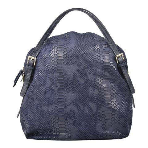 Carla Ferreri Blue Leather Pattern Hobo Bag