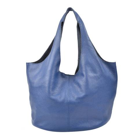 Carla Ferreri Blue Jeans Leather Hobo Bag