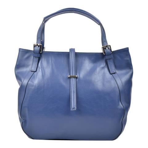 Carla Ferreri Blue Jeans Leather Tote Bag