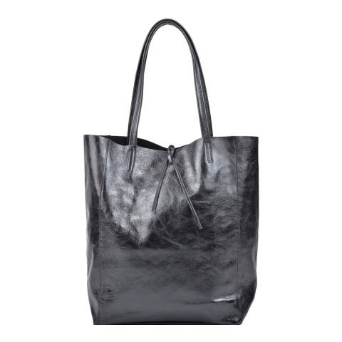 Carla Ferreri Black Leather Shopper Bag