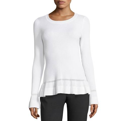 Michael Kors White Stitch Textured Top